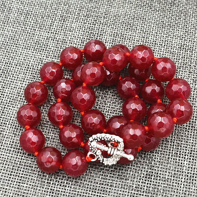 """NEW 12mm Red Ruby Round Gemstone Necklace 18"""" Tibetan silver love clasps AAA"""