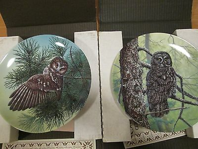 2 X Edwin M Knowles Collectors Plates - Stately Owls Series (No's 7 & 8) Boxed