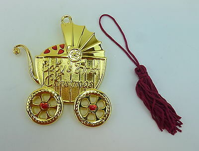 Gorham Baby's First Christmas Ornament Carriage Stroller Red Hearts Goldplate