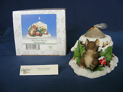 CHARMING TAILS HOLLY DAY DREAMS #93/505 Votive Candle Holder NIB Christmas Mouse
