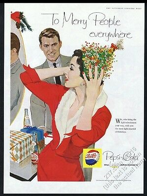 1958 Pepsi-Cola woman with Christmas hat illustrated vintage print ad