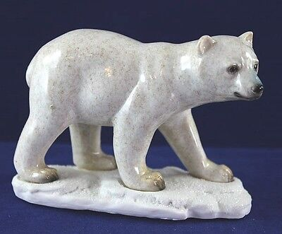 Juvenile Polar Bear Cub - Made to Look Like it is Hand Carved Stone