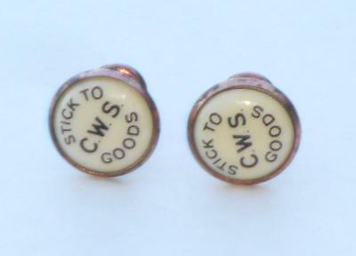 Rare Antique Advertising Co-Op Wholesale Society Collar Studs Stick To Cws Goods