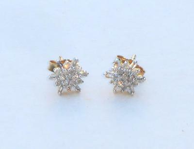 Superb Rare Vintage Solid Gold & Natural Diamond Cocktail Cluster Stud Earrings