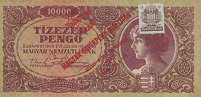 10 000 Pengo From 1945! Very Fine  Note With Commemorative Stamp 1960!