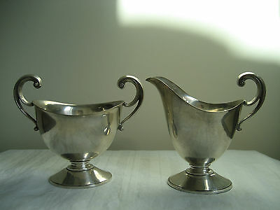 Vintage Art Deco Mulholland Bro. Silverplated Cream And Sugar Set