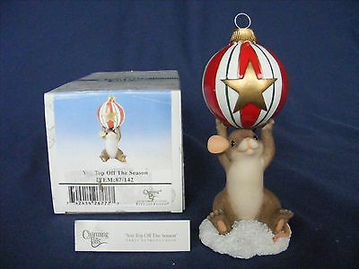 CHARMING TAILS YOU TOP OFF THE SEASON Figurine EARLY INTRO. Christmas Mouse