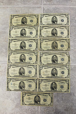 Lot of 13 United States $5 Dollar Silver Certificates Series 1953 Blue Seal