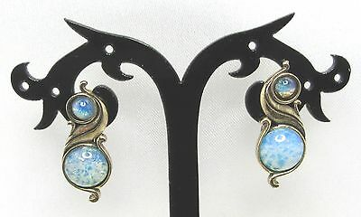 Fabulous Old Celtic Design Miracle Earrings Set With Faux Fire Opals  .