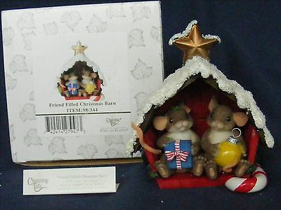 CHARMING TAILS FRIEND FILLED CHRISTMAS BARN Figurine SPECIAL ED. Silver Sign.