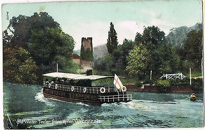 Vintage 1900s POSTCARD: OLD WATER TOWER FROM RIVER WORCESTER: STEAM BOAT FRITH