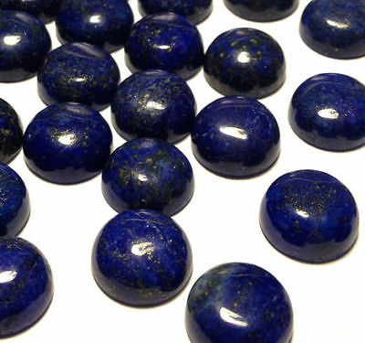5 PIECES OF 3mm ROUND CABOCHON-CUT NATURAL CHINESE LAPIS LAZULI GEMSTONES £1 NR