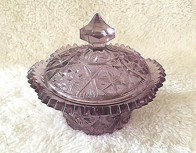 Amethyst Glass Covered Dish - Candy Dish