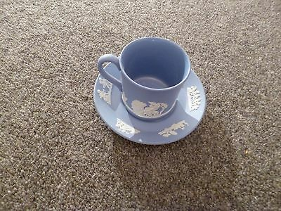 Wedgewood Blue & White Small Jasper Ware Cup & Saucer