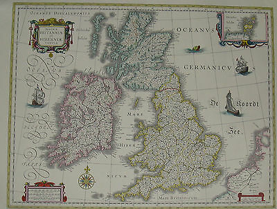A Map by Willen and Johan Blaeu. Great Britain 1635