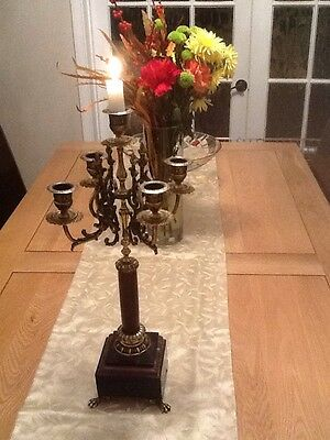 Antique French  Brass On Marble Candelabra