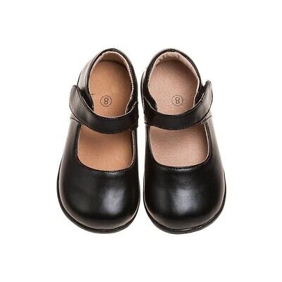 Girl's Toddler Leather Solid Mary Jane Non-Squeaky Shoes Black (Black Bottom)
