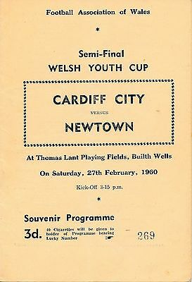 Cardiff City v Newtown (Welsh Youth Cup Semi Final) 1960