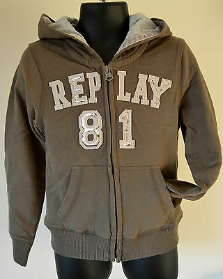 NEW Replay & Sons Hoodie zipped khaki Cardigan for girl 4 years old RRP £72