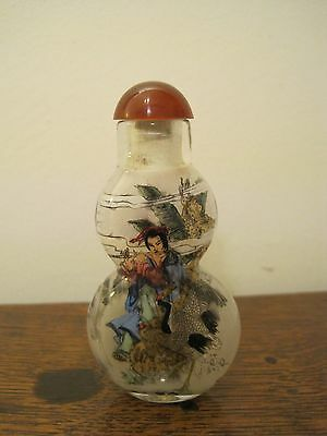 Internally Painted Chinese  Double Gourd  SNUFF BOTTLE 3 inches