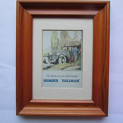 Humber Pullman Print By Herbert, In Heavy Pine Frame Under Glass, Free Postage.
