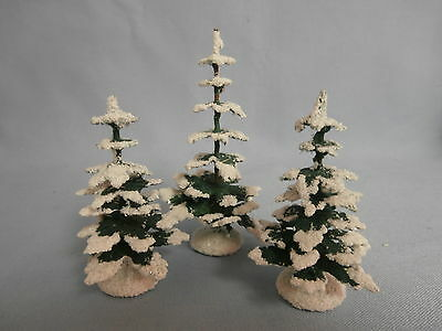 "3 Vintage German Small Putz Village Creche Frosted Snow Christmas Trees 4"" & 3"""