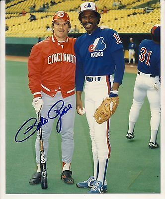 """Pete Rose Cincinnati Reds Autographed 8"""" x 10"""" Photo with Andre Dawson Expos"""