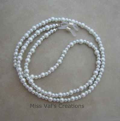Handcrafted white pearl silver reading eyeglass chain holder 29.5 inch lanyard