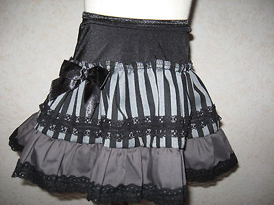 NEW Girls Black Grey linen Lace stripe frilly Party Skirt Age 2-3 Rock Goth Gift