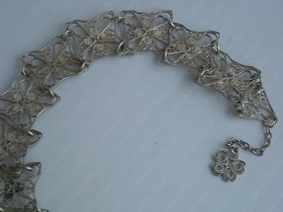 Antique / Vintage Mexican / New Mexico Sterling Silver Filigree Bracelet Fine !