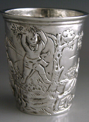 Victorian Sterling Silver Whisky Tot Cup 1892 German Hanau Antique