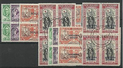NEW ZEALAND - NIUE 1946 Victory set in fine used blocks of 4, also Samoa set in