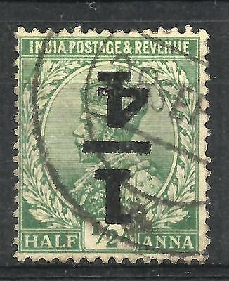 INDIA 1922 '¼' on ½a Bright green, surcharge inverted, SG 195a, used