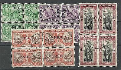 NEW ZEALAND - NIUE 1946 Victory set in fine used blocks of 4, SG 98-101