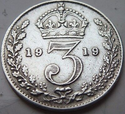 GEORGE V 1919 SILVER 3d THREEPENCE COIN HUNT