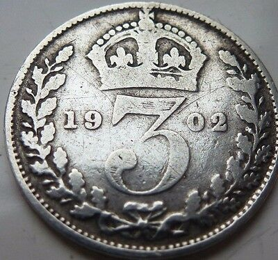 EDWARD VII 1902 SILVER 3d THREEPENCE COIN HUNT