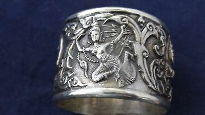 Superb Vintage Very Ornate Repousse Siam Sterling Silver Napkin Ring #9