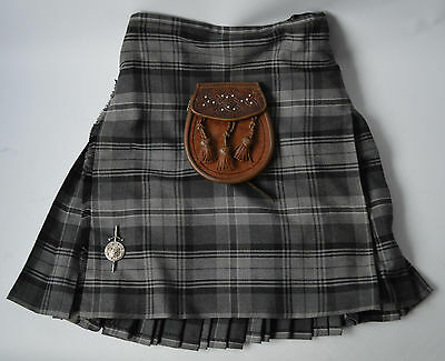 "Men's Grey Tartan, Scottish Highland Kilt with Sporran & Kilt Pin Size W34""."