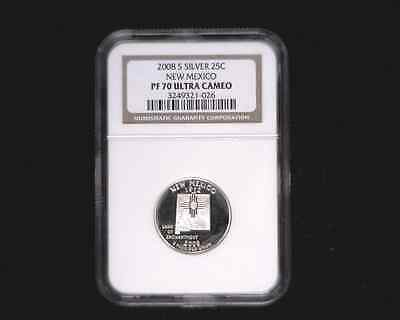 2008-S Silver Quarter 25C New Mexico graded PF70 Ultra Cameo by NGC