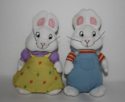 "Max and Ruby Ty 7"" Plush Bunny Rabbit Dolls Beanie Baby Set"