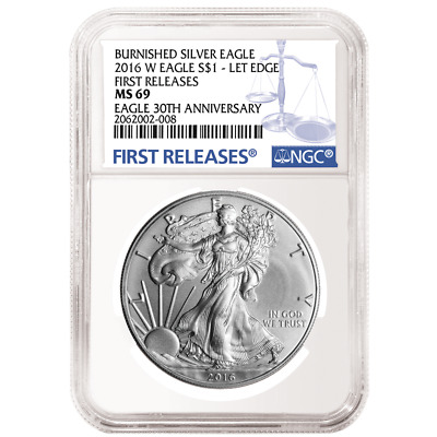 2016-W Burnished $1 American Silver Eagle NGC MS69 First Releases Blue FR Label