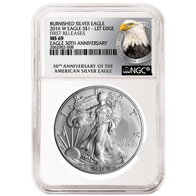 2016-W Burnished $1 American Silver Eagle NGC MS69 First Releases Bust FR Label