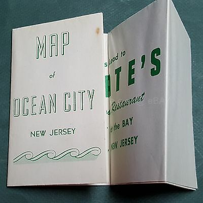 1951 vintage OCEAN CITY nj MAP from HOGATE'S SEAFOOD RESTAURANT