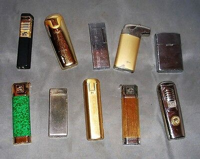 Lot of 10 Vintage Preowned Lighters - Mixed Manufacturer's - Terrific!
