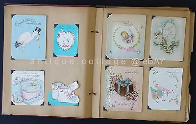 1940s vintage SCRAPBOOK GREETING CARDS christmas valentine new baby birthday