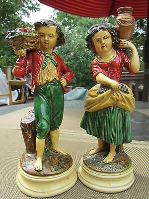 Antique export Borghese stamp plaster composition pair hand painted figurines