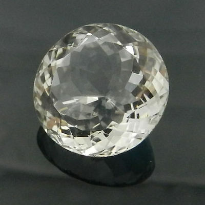 UNUSUAL 12mm ROUND-FACET ICE-WHITE NATURAL BRAZILIAN QUARTZ GEMSTONE £1 NR!