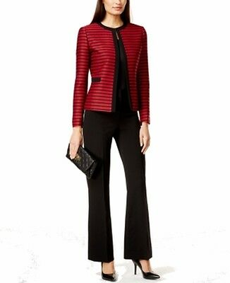 Tahari By ASL NEW Red Black Women's Size 4X31 Striped Pant Suit Set $280 #189