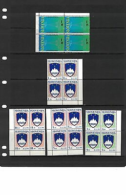1991 Slovenia 5 Blocks of Four - SG 134/6 Independence and PTT Stamps