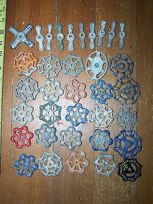 30 Vintage Salvaged Cast Alum. Water Valve Handles STEAMPUNK Industrial 2 3/4""